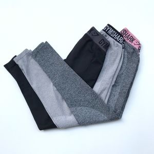 Gymshark Flex Leggings Set of Three Gray Black XS